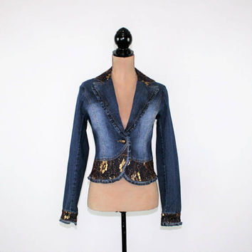 Fitted Denim Jacket Lace Embellished Western Boho Clothing Sparkly Gold Metallic Faded Denim Jacket Medium Vintage Clothing Womens Clothing