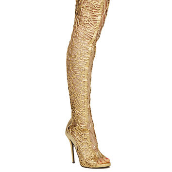 Lust For Life Gold Fly Thigh High Boot | Boots and Booties | AKIRA