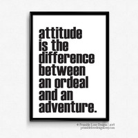 Attitude Is The Difference || typography print, inspirational art, attitude quote, black and white art, minimalist art, adventure quote