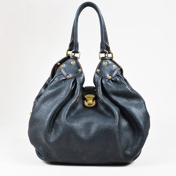 "Louis Vuitton Black ""Mahina"" Leather Gold Tone ""Large Hobo"" Bag"