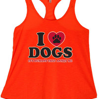 Women's I Love Dogs Graphic Print Polyester Tank Tops for Regular and PLUS - Small ~ 3XL