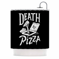"Tatak Waskitho ""Death By Pizza"" Food Black Shower Curtain"