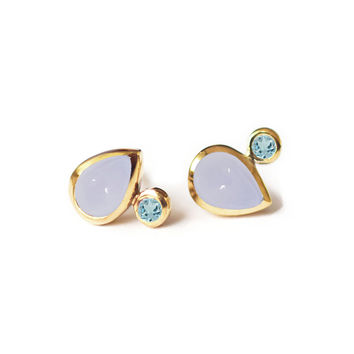 Lavender Chalcedony and Swiss Blue Topaz Droplet Studs