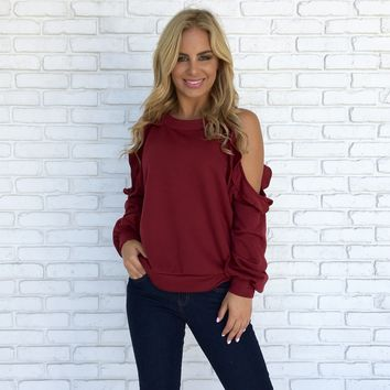 Ruffle Cold Shoulder Sweater Top in Burgundy
