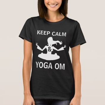 Keep Calm and Yoga OM funny black customizable T-Shirt