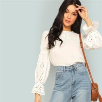 Modern Lady Flounce Sleeve Laser Cut Blouse Women Highstreet Casual Tops 100% Cotton Lady Clothing Fashion Tops