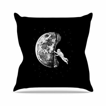 "BarmalisiRTB ""The Night Has Come"" Black White Throw Pillow"