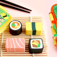 Buy Set of 4 Kawaii Sushi Bento Box Erasers at Tofu Cute