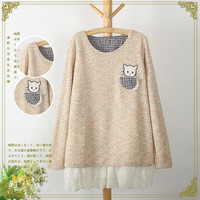 Embroidered Pocket Long-Sleeve Layer Knitted Sweater