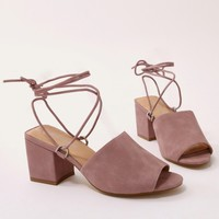 Paddington Lace Up Block Heeled Mules in Pink