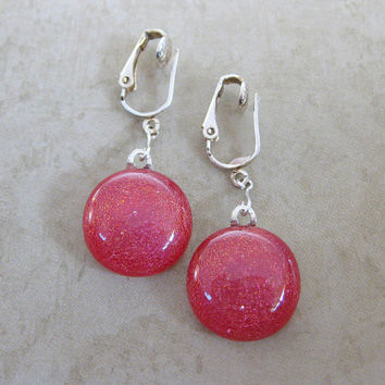 Dichroic Red Clip Earrings, Dangle Clip On Earrings, Red Earring Jewelry - Rudolfs Red Nose - 1336 -2