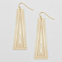 Gold Trapezoid Drop Fashion Earrings