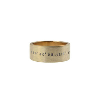 Modern Gold Ring with Coordinates Hand Stamped Geo GPS Location Jewelry Custom Personalized Wedding Band 2-sided Engraved Ring