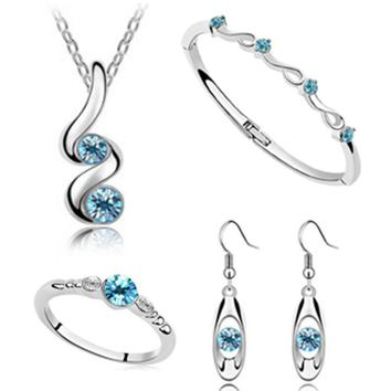 Wedding Jewelry Sets Silver Plated Pendant Necklaces Earring Rings Bracelet Bangles Engagement Set For Women