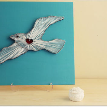 Seagull in flight Summer - Seagull Heart String Wall Art - Turquoise White Flying Wall Art Wings Home Decor Wood Art