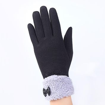 2017 Women Slim Gloves Warm Hand Wrist Cashmere Outdoor Touch Screen Winter Fashion