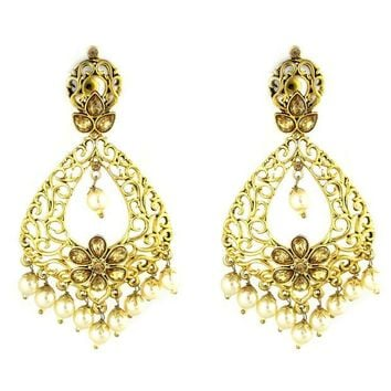 LMFXT3 VVS Jewellers Gold Plated Ethnic White Pearls Polki Indian Bollywood Deepika Padukone Women Kundan Earrings