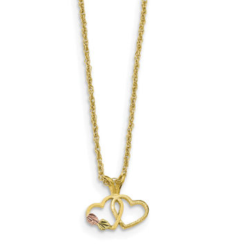 10k Tri-Color Black Hills Gold Double Heart Necklace 10BH688