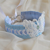 Papillon sky - fairy kei pastel kawaii cute lolita neko girl kitten pet play - white and blue lace collar