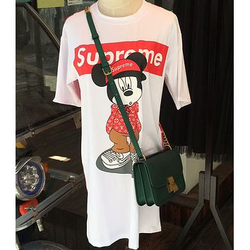 LV X Supreme Summer Trending Women Loose Mickey Mouse Print Short Sleeve T-Shirt Dress White I-AA-XDD
