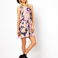 ASOS Smock Dress In Tie Dye Print at asos.com