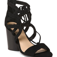 Wide Laced Kid Suede Sandals - Shoes - T.J.Maxx
