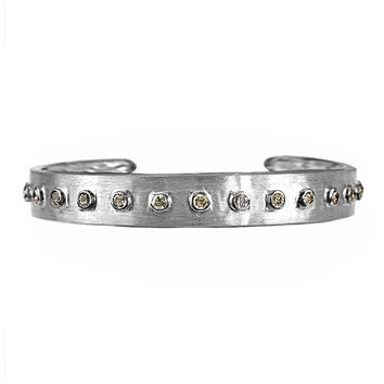 1.90ct Bezel Round Fancy Diamonds in 925 Sterling Silver Bangle Cuff Bracelet 7.5""