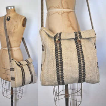 Mexican Blanket Bag Purse / neutral Tote