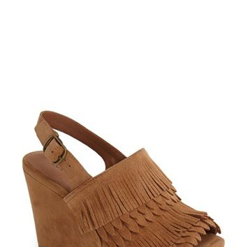 Women's Lucky Brand 'Jeena' Fringe Suede Wedge Sandal,