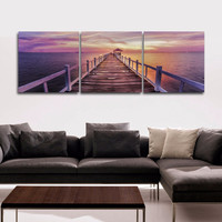 Unframed trestle bridge photo print on canvas Modern wall art Triptych path seascape sunset picture painting home decor RA0327