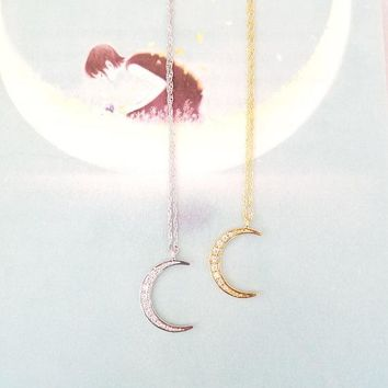 Moon Necklace, Gold Crescent Necklace,