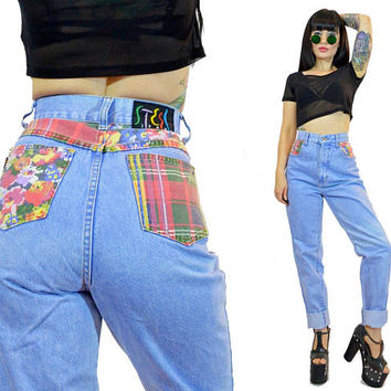 vintage high waisted jeans light wash floral patchwork denim plaid hipster pants size 11 staight leg blue MOM jeans