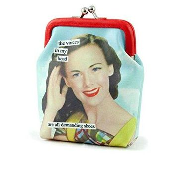 Anne Taintor Vinyl Kiss Lock Change Coin Purse  Voices In My Head Demanding Drinks