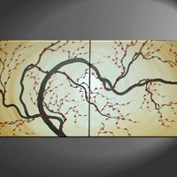 60x30 CUSTOM HUGE Original Japanese Plum Blossom by NathalieVan