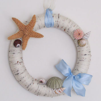 Beach Wreath, Yarn Beach Wreath, Summertime Wreath