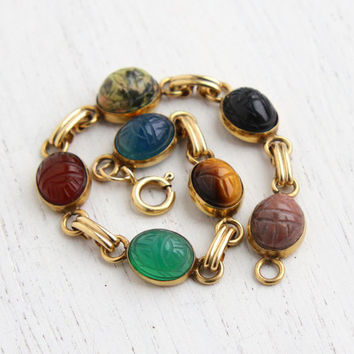 Vintage Scarab Bracelet - 14K Yellow Gold Filled Semi Precious Stone Egyptian Revival Jewelry / Chrysoprase, Carnelian, Onyx, Tigers Eye...