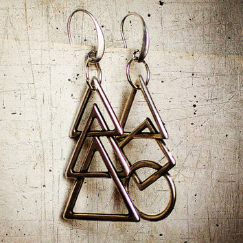 long asymmetrical earrings, mismatched geometric dangle earrings, gift for besties, modern minimal jewelry, bestfriend unpaired earrings