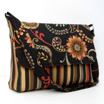 Cross Body Messenger Bag, Flap Purse - Black Floral and Stripes