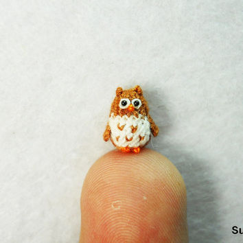 Micro Mini Brown Owl - Tiny Handmade Crochet Amigurumi Miniature Owls - Made To Order