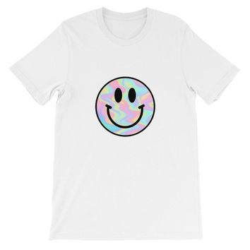 Psychedelic Trippy Smiley Face Short-Sleeve Unisex T-Shirt Cannabis Weed