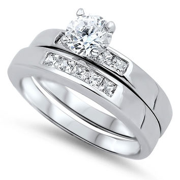 Sterling Silver CZ 1 carat Brilliant Round Cut Solitaire Wedding Ring Set 5-10