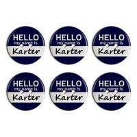 Karter Hello My Name Is Plastic Resin Button Set of 6