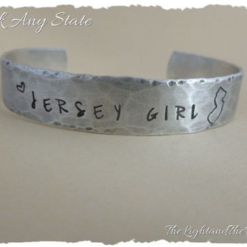 Personalized Hand Stamped Cuff Bracelet - Choose your State and Motto - Home - USA - Silver Jewelry - Unisex - Gift for him Gift for her