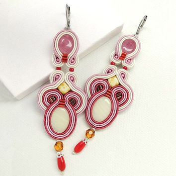 Pink Soutache Earrings Pink Chandelier Earrings Long Chandelier Earrings Big Earrings Statement Earrings Long Earrings Pink Dangle Earrings