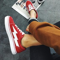 Vans X Revenge X Storm Old Skool Trending Women Men Stylish Canvas Flat Sneakers Sport Skateboard Shoes Red I-AHXF