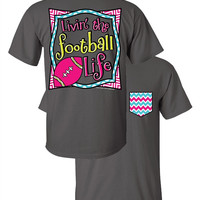 Southern Couture Livin the Football Life Sports Chevron Faux Pocket Girlie Bright T Shirt