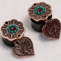 "9/16"" rose gold heart dangle plugs"