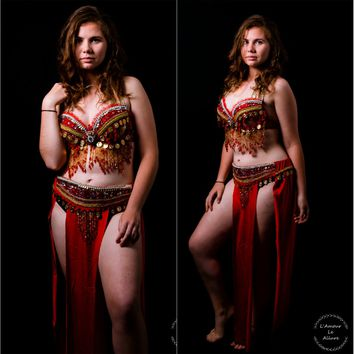 {SALE ITEM} Red Gold Flareon Gypsy Belly Dancer Rave Bra Cosplay Halloween Costume Pokemon