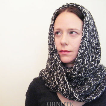 Grey Infinity Scarf  Hood- Soft Crochet Cowl/ Grey Loop Scarf //The Edinburgh// Ready to Ship