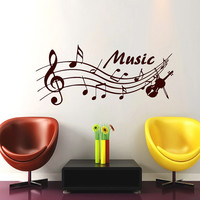 Wall Decals Music Decal Vinyl Sticker Violin Treble Clef  Decal Home Decor Bedroom  Studio School Dorm Living Room MN 64